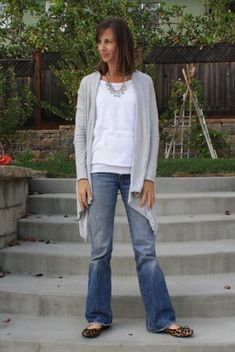Love the gray cardi with the leopard flats