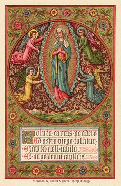 Freed from the weight of the body, the Virgin is carried to Heaven. With jubilation the Heavens receive her, and the angels sing. Happy feast of the Assumption of Mary into Heaven!