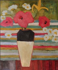 "Daily Painters Abstract Gallery: Contemporary Abstract Still Life Flower Art Painting ""Latin Quarter"" by Santa Fe Artist Annie O'Brien Gonzales"