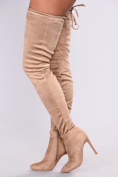 8edeca3e53b A Tall Tale Over The Knee Boot - Taupe