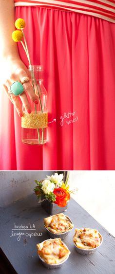Glitter Vase + Lasagna Cupcakes(via Design Love Fest)