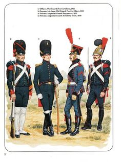 France; Imperial Guard L to R Gunner 1st Class & Officer Old Guard Foot Artillery 1811, Private Artillery Train 1810 & Private Engineers 1811.