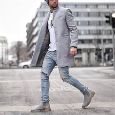 Autumn And Winter Fashion Pure Color Long Warm Coat - Fashion Ideas Style Casual, Men Casual, Style Men, Classic Mens Style, Casual Blazer, Casual Jeans, Casual Boots, Style Brut, Pullover Mode