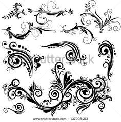 Set of floral elements for design. Raster version of vector file