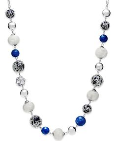 Style & Co. Silver-Tone Blue Jet Bead Long Necklace