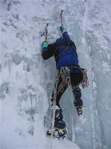 Ice climbing is the activity of ascending inclined ice formations. Usually, ice climbing refers to roped and protected climbing of features such as icefalls, frozen waterfalls, and cliffs and rock slabs covered with ice refrozen from flows of water. Snow And Rock, Mountain Climbers, Ice Climbing, Outdoor Life, Outdoor Stuff, Outdoor Fun, Outdoor Living, Extreme Sports, Mountaineering