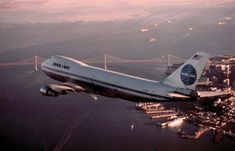 Pan American World Airways Boeing 747 over San Francisco.