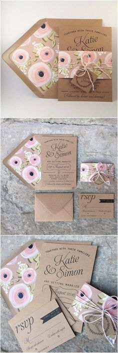 Kraft Wedding Invitation Suite, Kraft lined envelopes, Bakers Twine, Floral Wedding Invitations