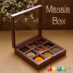 This Product is best suited as spice box container or Spice Jars spice rack spice jars spice cabinet spice racks, utility box, multipurpose box Handmade Hand carved Wooden Spice Box. Wooden Spice Box - wooden spice box Made of wood. Kitchen Jars, Wooden Kitchen, Indian Spice Box, Dry Fruit Box, Spices Packaging, Spice Containers, Spice Organization, Cool Kitchen Gadgets, Tea Box