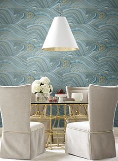 Candice Olson wallpaper ONYX SN1301 in a lovely blue gold palette #candiceolson #yorkwall