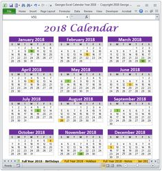 microsoft excel calendar template 2018