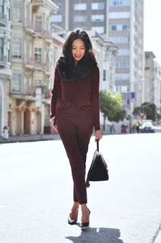 burgundy sweater and trousers + prada pointy-toes