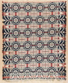 Jacquard coverlet, ca. 1840, inscribed Samuel Hicks, with an eagle border, 96'' x 80''. | Bidsquare