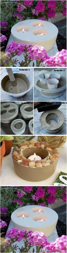 DIY Concrete Candlestick DIY Concrete Candlestick by diyforever