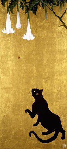"""black cat"" by Muramasa Kudo Kudou Muramasa (1948-) 工藤村正 Cat and Wasp 猫と蜂"