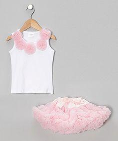 Loving this Light Pink Tank & Ribbon Pettiskirt - Infant, Toddler & Girls on #zulily! #zulilyfinds