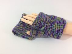 Fingerless gloves, multicoloured, lilacs and green,  knitted, vegan, hand warmers, glovelets, summer gloves, female, ladies