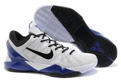 Air Foamposite Nike Zoom Kobe 7 Supreme Concord White Black [Nike Zoom Kobe 7 - This pair of the Nike Zoom Kobe 7 Supreme Concord White Black shoes sports a white synthetic upper along with black on the Nike swoosh, shoe laces, and collar. Nike Kobe Shoes, Nike Shoes Cheap, Sneakers Nike, Cheap Jordans, Jordan Sneakers, Nike Outlet, Shoes Outlet, Blue Basketball Shoes, Nike Shoes Online