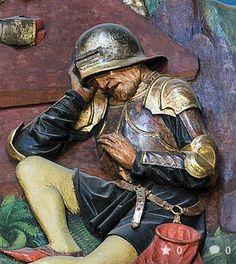 Altar von Veit Stoß, Krakau/Polen  Detail schlafender Wächter