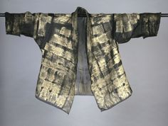 Silk Organza Hand-Painted Shawl Collar jacket.  Black with Gold. Available in Black and Silver. Diane Katz Designs