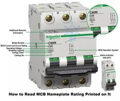 How to Read MCB Nameplate Data Rating Printed on it? Electrical Panel Wiring, Electrical Circuit Diagram, Electrical Code, Electrical Projects, Electrical Installation, Electronics Projects, Engineering Science, Engineering Projects, Engineering Technology