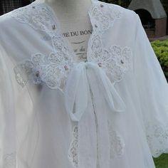 Vestaglia Shabby chic elegante VINTAGE ruffle bianco SPOSA wedding Bride Dressing gown