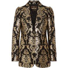 Roberto Cavalli Metallic jacquard blazer ($2,665) ❤ liked on Polyvore featuring outerwear, jackets, blazers, blazer, tailored jacket, tailored blazer, roberto cavalli jacket, blazer jacket and brown blazer