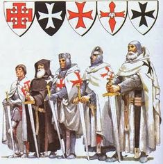 Mysteries of the Knights Templar, Cathars, Rennes-le-Chateau, the Holy Grail and Trobadours . The main Catholic military orders of monastic-knights Knights Hospitaller, Knights Templar, Knight Orders, Crusader Knight, Military Orders, Armadura Medieval, Medieval Knight, Chivalry, Dark Ages
