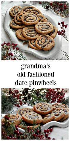 Grandma's Old-Fashioned Date Pinwheels Icebox Cookies stand the test of time! Slightly crispy, chewy with the perfect amount of spice! Date Nut Cookie Recipe, Cookie Recipes, Dessert Recipes, Grandma Cookies, Icebox Cookies, Date Cookies, Pinwheel Cookies, Good Pie, Holiday Recipes