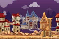 Buy Medieval City Seamless Landscape Background by on GraphicRiver. Medieval city seamless landscape background for computer game. Interface panoramic, gui city or town, vector illustra. App Background, Landscape Background, Seamless Background, Architecture Background, Creative Poster Design, Creative Posters, Computer Backgrounds, Abstract Backgrounds, Custom Printed Fabric