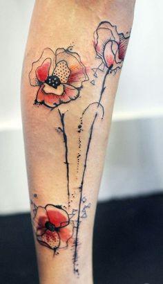 Poppy Pint Leg Tattoo