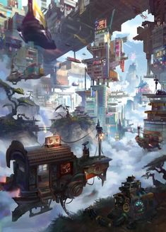 ArtStation - robin lhebrard's submission on Beyond Human - Environment Design Concept Art Landscape, Fantasy Art Landscapes, Fantasy Concept Art, Fantasy Landscape, Fantasy Artwork, Fantasy City, Fantasy Places, Fantasy World, Ville Cyberpunk
