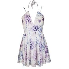 Ally Fashion Mono print floral wrap neck skater dress (310 SEK) ❤ liked on Polyvore featuring dresses, print, floral print skater dress, wrap dress, white skater dress, white wrap dress and white dress