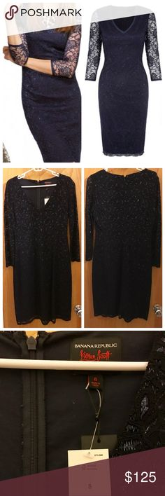 SALE L'Wren Scott for BR NWT Party Dress This gorgeous NWT dress in dark navy blue is from the late designer L'Wren Scott's 2013 capsule collection with Banana Republic. Sheer sparkly lace lined with silky fabric makes for a great quality dress made for holiday parties. Deep v-neck and sheer sleeves. Still has the tags on it- I bought, didn't end up wearing and it's been safely in my closet since. Size 8 but runs a little small. Sorry, no trades. Offers will be considered through offer…