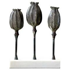 Flanders Hollywood Regency Gold Trio of Poppies Sculpture | Kathy Kuo Home