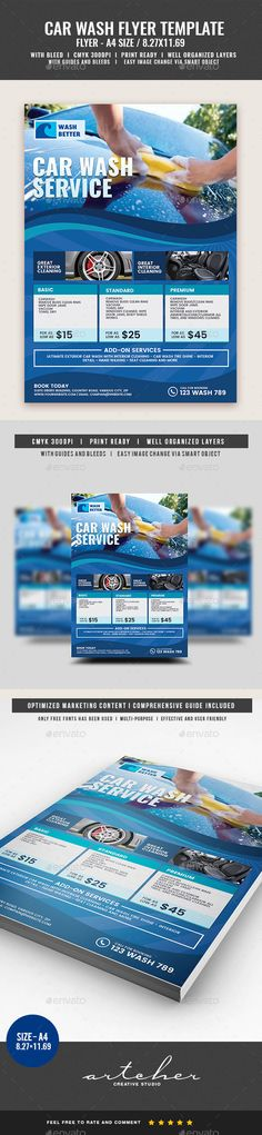 Car Wash Flyer by Artchery Car Wash Services Flyer Boost your company's sales and attract new customers! This Template has been developed to help Large and S