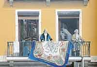 Joseph Marie Jacquard (1752-1834) : inventeur du métier à tisser semi-automatique, son nom a été donné à un type de tissu fabriqué avec un métier Jacquard.<BR>Philippe de la Salle (1723-1804) : dessinateur sur toile.