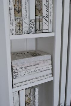 Printed Paper Covered Books, Idea for DIY. White, Grey, Black, Chippy, Shabby Chic, Whitewashed, Cottage, French Country, Rustic, Swedish decor Idea. ***Pinned by oldattic ***.
