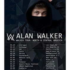 Extremely happy and excited to finally announce that I'll be heading out on tour in Northern & Central America! This will be my first time performing at any of these places, and I can't wait! See you there Tickets: tour.alanwalker.no