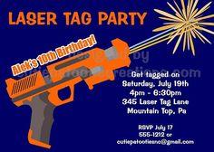 Laser Tag Invitations - Air Soft Nerf Gun