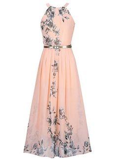 Floral Bow Slip Maxi A-line Dress