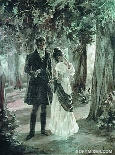 Lizzy and Darcy - Pride and Prejudice, Jane Austen. My favorite part of the story that isn't in either of the movies. Darcy Pride And Prejudice, Eugene Onegin, Darcy And Elizabeth, Film Anime, Jane Austen Books, Jane Eyre, Art Ancien, Mr Darcy, Illustration