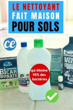 La recette du produit pour laver le sol fait maison avec du bicarbonate, du savon noir et du vinaigre blanc