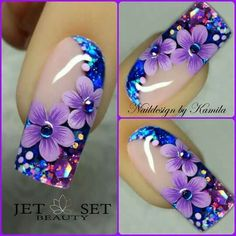 Beautiful nail art designs that are just too cute to resist. It's time to try out something new with your nail art. Purple Nail Art, Blue Nails, My Nails, Hair And Nails, Glitter Nails, Fingernail Designs, Toe Nail Designs, Nails Design, Beautiful Nail Designs