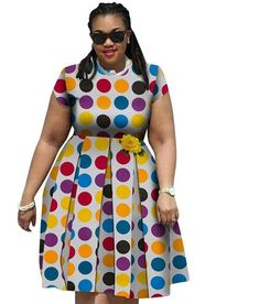 African Print Elegant Plus Size Dress