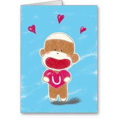 Sock Monkey Valentine Card