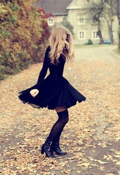 Fall's just around the corner: dark skirt, overknee socks & boots - love :)
