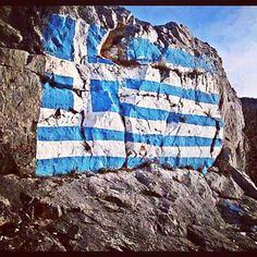 Greek flag on a Rock! Greek Men, Greek Girl, Go Greek, Corfu, Crete, Ikaria Greece, Beautiful Islands, Beautiful Places, Greek Flag