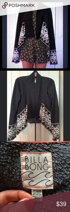 Billabong Sweatshirt Jacket small Charcoal You are looking at a super stylish open front sweatshirt/jacket by Billabong. So comfy and cozy and versatile! This jacket was barely worn and is in impeccable condition! Made out of a cotton/polyester blend. It is a charcoal gray color. Women's size small. Thanks for looking! Billabong Jackets & Coats