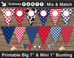 """Printable American Cowboy Party Banner 7"""" & Mini Cake Bunting 1"""". Red, White, Blue, Cow Print. Add Your Text / Photo DIY. INSTANT DOWNLOAD from subwayParty.Etsy.com #partyprintables, #July4th, #cowboyparty"""